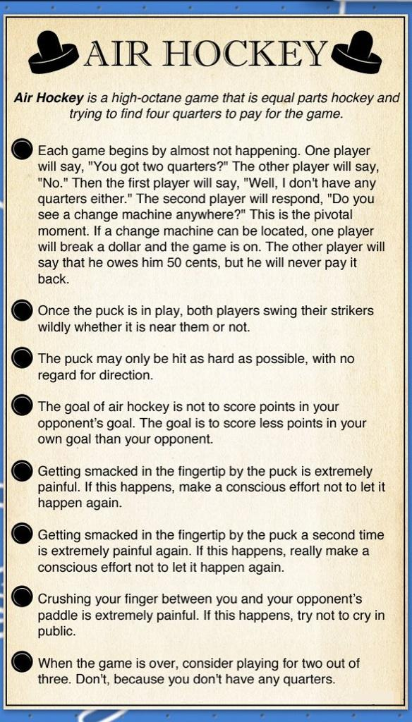 Air Hockey Rules