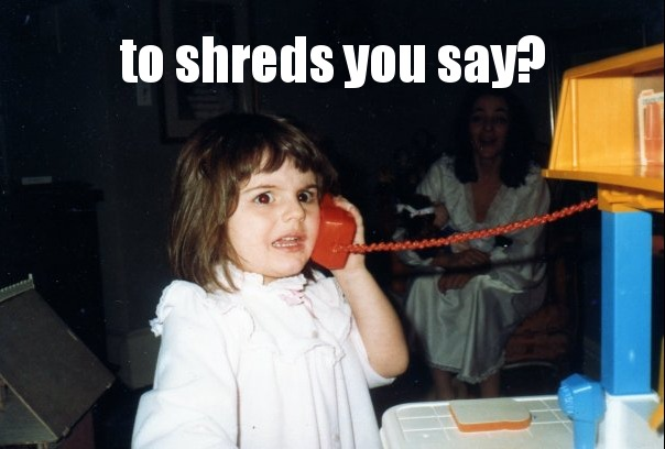 To Shreds You Say